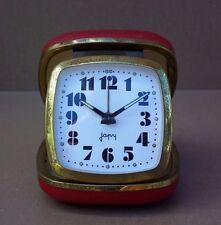 Réveil à clé de voyage JAPY vintage ancien ROUGE FONCTIONNE old alarm clock