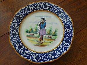 VINTAGE ONE PLATE FRENCH FAIENCE HB QUIMPER