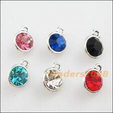 6 New Tibetan Silver Charms Mixed Crystal Round Pendants 9x13mm