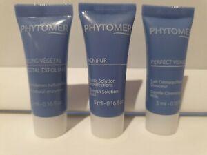 Phytomer 5ml cleansing milk, Vegetal Exfoliant & Acnipur blemish solution fluid