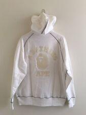 Classic RARE *A BATHING APE* white/gray zip hoodie L Knit Trims