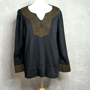 PERUVIAN CONNECTION black brown embroidered jumper pima cotton womens Large