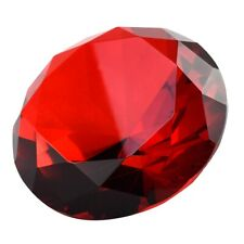 Big 100mm Deep Ruby Red 100 mm Cut Glass Crystal Giant Diamond Jewel Paperweight