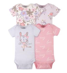 Baby Girl Lot of 4 Onesies Ballerina Bunny LOVE Dance Pink Purple  NWT Gerber
