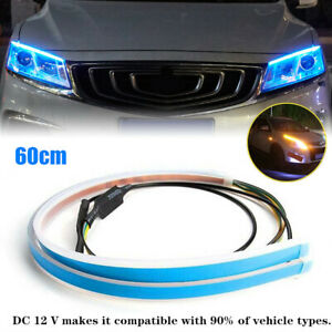 60cm Car LED Headlight Slim Strip Light Daytime Running Lamp Sequential Flow 12V