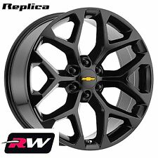 "22 inch Chevy Silverado 1500 Snowflake Wheels Gloss Black Rims 22x9"" 6x5.50"" +24"