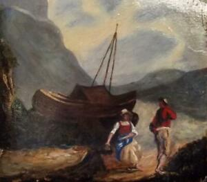 Old British Primitive Maritime Oil Painting FISHERFOLK AT LOW TIDE 1800's