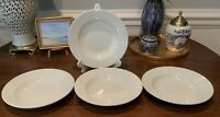 "Set 4 Williams Sonoma Everyday White Rim 9"" Soup Plates Bowls Pasta Salad Cereal"