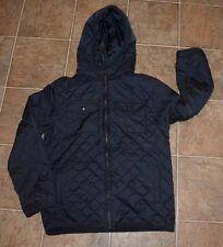 New Boy's Gymboree Navy Blue Diamond Stitch Uniform jacket coat w hood 10 12