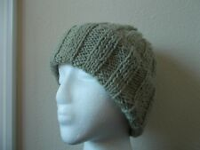 Hand knitted 100%  rustic wool beanie/hat, light rustic gray