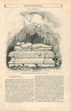 Tombeau à Estillac de Blaise de Monluc 1500-1577 maréchal de France GRAVURE 1846
