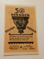 REHNA REUTERGELD NOTGELD 50 PFENNIG 1922 NOTGELDSCHEIN (10820)