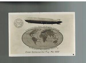 1930 Spain Graf Zeppelin Around the World Flight Postcard Cover to Konstanz