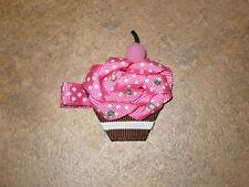 "NEW ""PINK CUPCAKE"" Hairbow Alligator Clip Girls Ribbon Sculpture Bows Birthday"