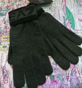 Mens Armani EA7 Knitted Gloves / Mittens Olive Green (Medium)