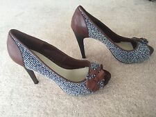 Lela Rose for Payless Tweed Boucle Peep Toe Stiletto Pumps Heels Shoes Size 8.5