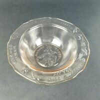 Tiara Glass Mother Goose Nursery Rhyme Embossed Pink Bowl Vintage by RS 6""