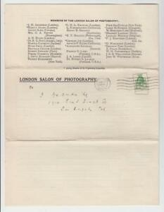 GB 1929 LONDON SALON OF PHOTOGRAPHY ANNUAL EXHIBITION CIRCULAR TO US (SEE BELOW)