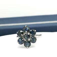 14k Natural Sapphire Cluster Flower Ring September Birthstone