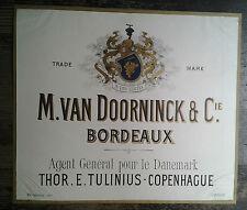 AFFICHE ANCIENNE  VIN BORDEAUX VAN DOORNINCK DANEMARK THOR TULINIUS COPENHAGUE