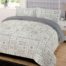Letter Press Quilt Cover with Pillowcase Duvet Bedding Set Modern Grey - King