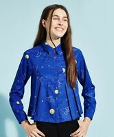 THE WHITEPEPPER Hipster Blue Rocket Constellation Print Pleat Shirt