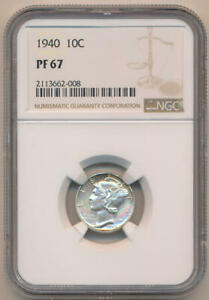 1940 Proof Silver Mercury Dime, NGC PF67
