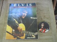 """Elvis Signed Button Pin & 1984 Pictorial Life History """"Golden Tribute"""" 64pg Book"""