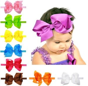6 Inch Large Big bow Hair Headbands Shimmery Elastics