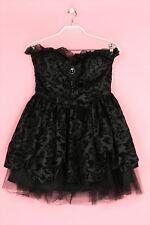 HELL BUNNY Gothik-Stretch-Kleid mit Rüschen mit floralem Muster L schwarz