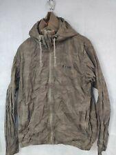 Mens Bench Jacket Size Large Zip Up Hooded Brown Waterproof Coat
