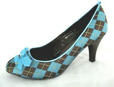 Not Rated NR Shoes Sz 9 Blue Brown Argyle Plaid Check Fabric Pumps Heels Womens