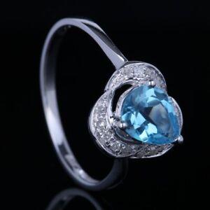 SOLID 14K WHITE GOLD SWISS BLUE TOPAZ NATURAL DIAMOND JEWELRY WEDDING FINE RING