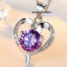 GIFTS FOR HER - Purple Crystal Diamond Heart Necklaces Wedding Bridal Xmas Women