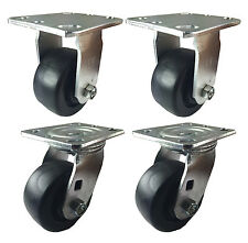 """4"""" x 2"""" Heavy Duty Plastic Caster - 2 Swivels and 2 Rigids"""