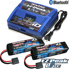 Traxxas 2971 EZ-PEAK LIVE Charger with (2) 7600mah 7.4v 2s Lipo packs #2869x