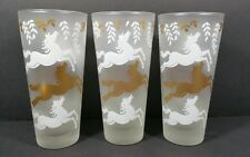 Libbey Cavalcade Tom collins 3 highballs glasses gold white frosted horses