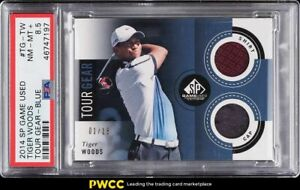 2014 SP Game Used Tour Gear Blue Tiger Woods PATCH /15 #TG-TW PSA 8.5 NM-MT+