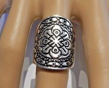 SILVER MANDALA DISC RING geometric circle state wide bohemian etched 6.5 new S2