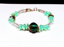 Green Glass & Shell Beaded Bracelet