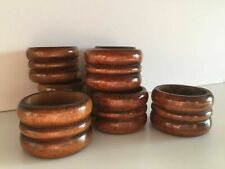 8 Scandia Carved Wood Napkin Rings Scandinavian Style Dinner Tableware Vintage