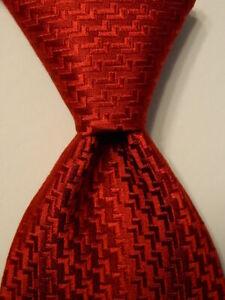 ERMENEGILDO ZEGNA Men's Silk Necktie ITALY Luxury SOLID Geometric Red PERFECT