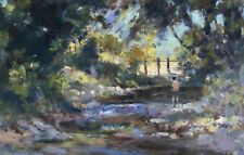JOHN NEALE SIGNED IMPRESSIONIST OIL ON BOARD, 'FISHING FOR TIDDLERS'