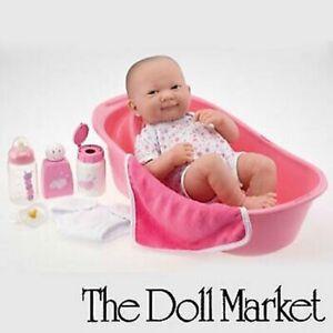 """Berenguer La Newborn 14"""" Vinyl Baby Doll """"Deluxe Bath Set"""" New in Box"""