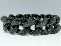 10Ct Round Cut Black Diamond Miami Cuban Bracelet 14k Black Gold Finish