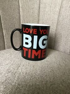 "LOVE YOU BIG TIME  Black/Red Extra Large Coffee Mug by Maud Borup 5.25"" tall"
