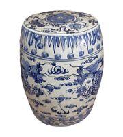 "Blue and White Porcelain Dragon Motif Garden Stool 19"""