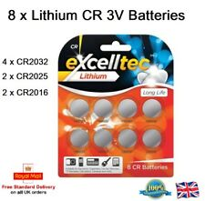 Cr2025 Cr2016 Car Fob 3V Excell Tec 8 x Mix Lithium Button Cell Batteries Cr2032