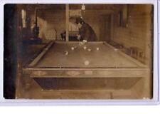 Real Photo Postcard RPPC Man Playing Pool Billiards Making Six Balls in One Shot