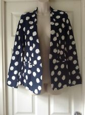 M&Co Daisy Collection, Navy Spotted Jacket, Long Sleeve, Lined, Size 10
